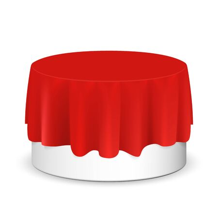 Vector realistic round podium covered with red silk cloth. Empty podium, stand with tablecloth. Round podium for displaying products. Podium hidden under satin fabric with drapery and folds. Stock fotó - 127873023