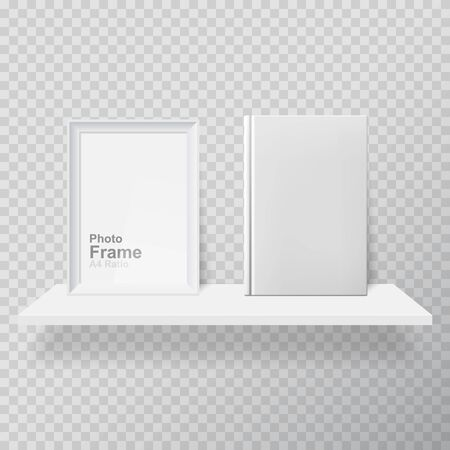 Blank frame and white book on shelf. Realistic picture frame and white book on white realistic shelf. Picture Frame and book, isolated blank frame with copy space for design