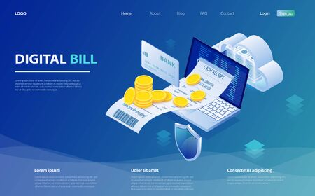 Digital bill and online bank, laptop with check tape. Online bill payment. Laptop, paper receipt check, stack of coins. Digital bill for mobile internet banking concept. Online check payment. Stock fotó - 127873029