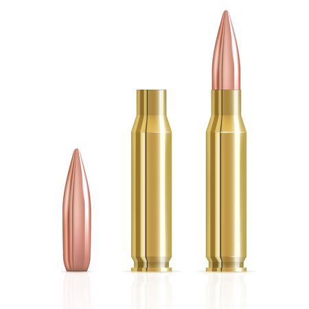 Realistic ammunition cartridge vector illustration. Ammunition bullets on white background. Bullets and cartridge case isolated. Brass sleeve cartridge, lead bullet in full copper shell 3d Realistic.