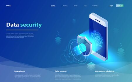 Mobile data security concept. Smartphone with security shield and access window. Internet security shield business. Fingerprint access password, fingerprint on smartphone screen, data protection