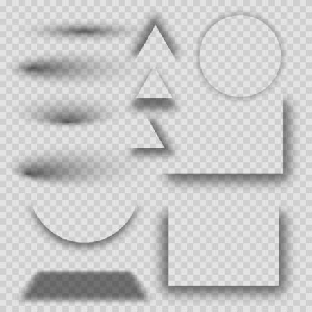 Transparent realistic shadow effect set. Set of round, triangle and square shadow effects. Realistic shadows set for advertising banner templates.  イラスト・ベクター素材