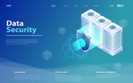 Big data flow processing data protection concept. Cloud database, web hosting server room. Isometric database protection concept. Digital information technology. Database security, shield server unit Stock fotó - 130455754