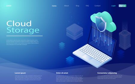Cloud computing technology users network. Cloud computing service, storage network servers. Digital service or app with data transfering. Concepts Cloud storage. Servers, datacenter connection network Illusztráció