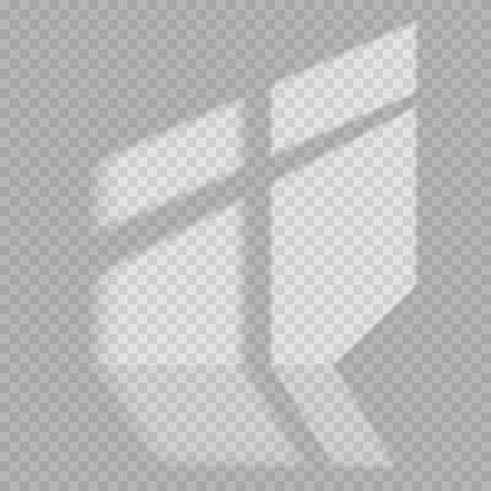 Fensterlicht und Schatten realistischer grauer dekorativer Hintergrund. Transparente Schattenüberlagerungseffekte für das Branding. Fensterrahmenschatten für natürliche Lichteffekte. Schatten und Licht aus dem Fenster.