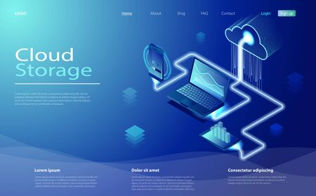 Cloud computing online storage. Cloud data storage isometric infographic. 3d servers and datacenter connection network. Landing page, smart modern technolodgy concept with gadgets, smartphone, laptop