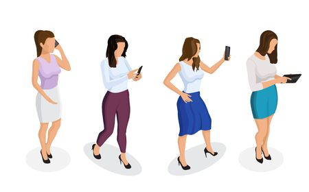 Trendy isometric people and gadgets. Young girl or woman talking on a smartphone, looking at the phone, working on a tablet, taking a selfie. Woman with phone in different poses on a white background.