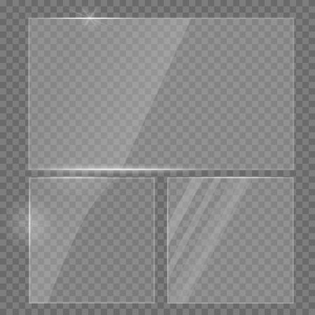 Glass plate realistic set. Glass transparent banners set. Realistic window mock up. Reflecting rectangle glass banner. Realistic 3D design.