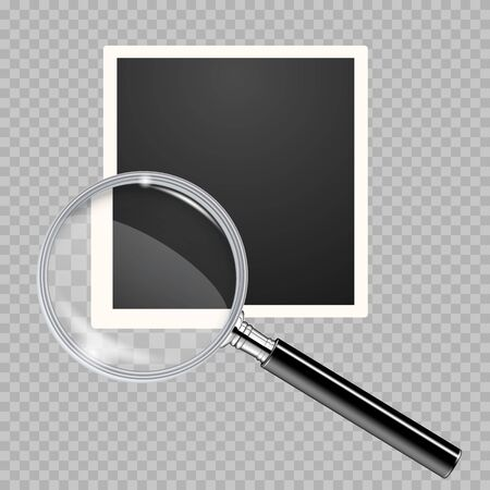 Old blank square photo with magnifying glass with magnifying effect on a transparent background. Retro photo frame placed on transparent background. Transparent magnifying glass on a blank photo frame