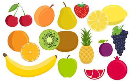 Tropical fruit. Vegan kitchen apple hand drawn, organic fruits or vegetarian food. Flat fruit: apple, pear, strawberry, orange, peach, plum, banana, watermelon, pineapple, grapes, cherry, kiwi, lemon