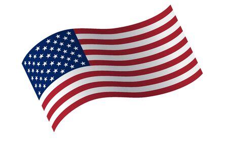 Wehende Flagge der Vereinigten Staaten. Illustration der gewellten amerikanischen Flagge für den Unabhängigkeitstag. Vektorgrafik