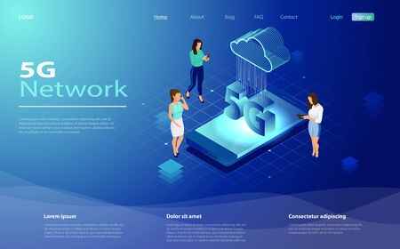 5g network technology in isometric vector illustration.