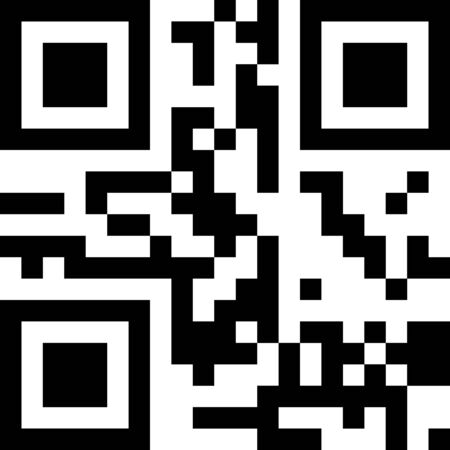 Classic QR code sample for smartphone scanning isolated on white background.