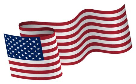 Waving flag of the United States. illustration of wavy American Flag for Independence Day. Stock fotó - 131945496