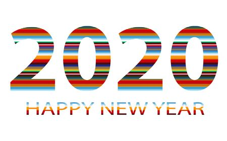 Happy new year logo 2020 vector background. Happy 2020 new year colour banner.