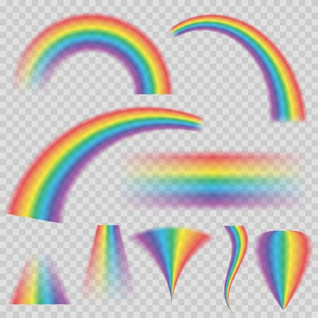 Transparent rainbows in different shapes. Rainbow icon isolated on transparent background.