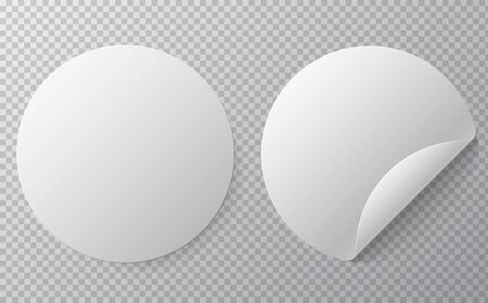 Blank round sticker mock up with curved corner. Иллюстрация