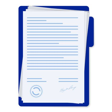 Contract papers. Document with signature and text. Document, folder with stamp and text silhouettes.