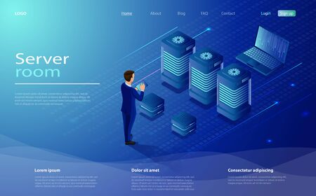 Datacenter isometric vector illustration. Network infrastructure, server room topology, cloud data center. Data handling, analysis data and Investment. Male character engineer in data center room