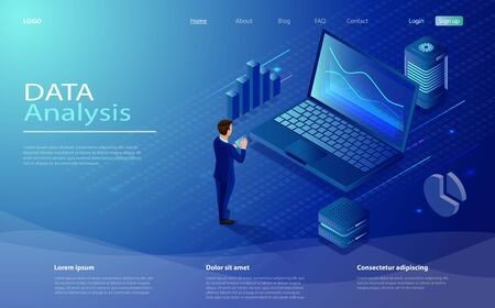 Man analyze diorams and graphics. Data analysis concept with characters. Isometric concept data analysis for website and mobile website. Data analysis in isometric vector design. Иллюстрация