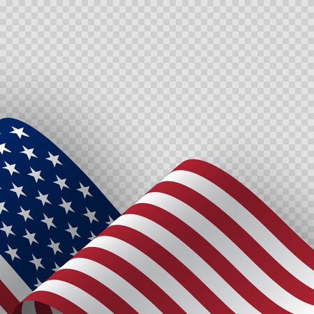 Waving flag of the United States of America. Illustration of wavy American Flag for Independence, labor, presidents Day. American, US, United States flag on transparent background Illusztráció