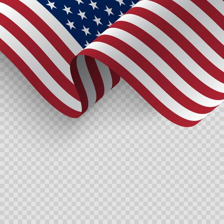 Waving flag of the United States of America. Illustration of wavy American Flag for Independence, labor, presidents Day. American, US, United States flag on transparent background Иллюстрация