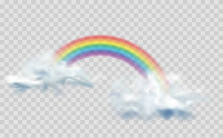 Rainbow icon isolated on transparent background. Transparent rainbows in different shapes. Rainbows in different shape realistic set on transparent background