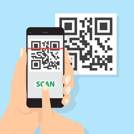 Hand with phone scanning qr code. Flat style icon. Vector QR code sample for smartphone scanning. Illusztráció
