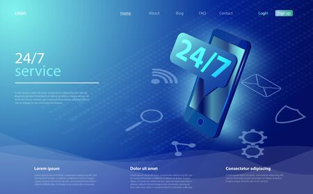 Customer service landing page. 24-7 service concept or call center. Concept illustration for support, assistance, call center. Mobile self-service layout template for landing page.