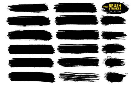 Brush strokes. Vector large set different grunge brush strokes. Dirty artistic design elements isolated on white background. Black ink vector brush strokes. Thin dirty distress texture banners.