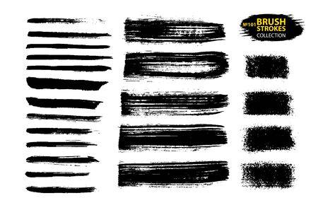 Tratti di pennello. Insieme di grandi pennellate di grunge diverso di vettore. Elementi di design artistico sporchi isolati su sfondo bianco. Pennellate di vettore di inchiostro nero. Striscioni sottili e sporchi di texture di emergenza. Vettoriali