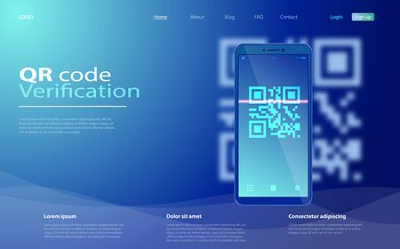 Mobile phone with a scanner reads the qr code. QR Code scanning concept with smartphone. Qr code verification concept. Иллюстрация