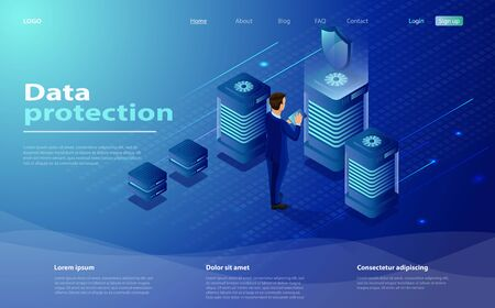 Isometric personal data protection web banner concept. Network, security data protection Isometric vector illustration. Cyber security landing page. People works with server tablet in cloud network Иллюстрация