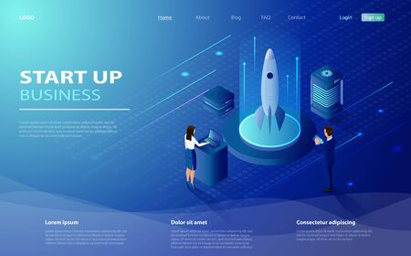 Startup technology concept with spaceship. Business project startup process, idea through planning strategy. Landing page template. Isometric concept Startup your project for website.