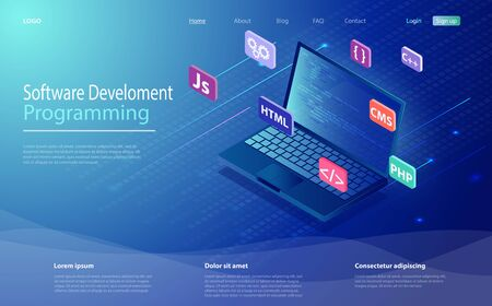 Programming, software, web development concept isometric icon, laptop with program code on screen. Programming language and program code on screen laptop. Landing page concept. Иллюстрация