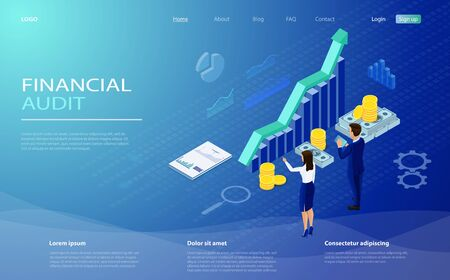 Financial statement, analysis and statistic online servises, money cash accounting isometric vector. Financial management concept. Auditing, business analysis concept with characters.