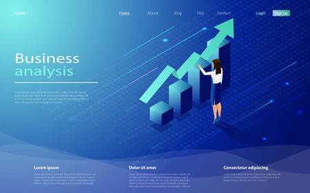 Business analysis concept banner with characters. Isometric concept business analysis for website and mobile website. Data analysis design concept. Business lady analyze the growing schedule