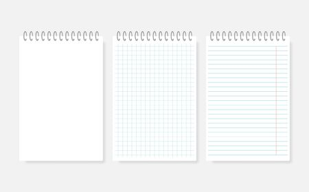 Realistic spiral notebook mockup. Realistic notebooks lined and dots paper page isolated on transparent background. Clean spiral notepad blank mockup template.