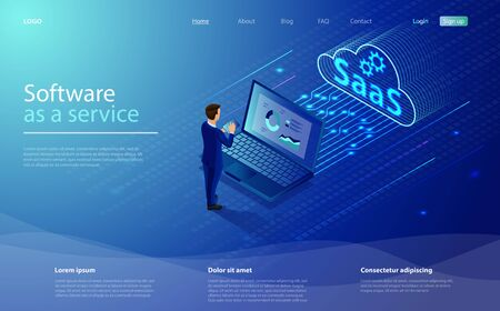 SaaS, software as a service. Cloud software on computers. Cloud software on computers, codes, app server and database. Saas software as a service business concept with character businessman.
