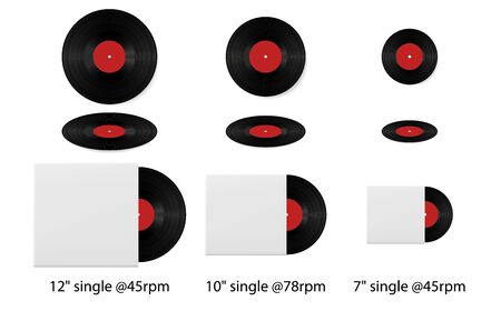 Retro vinyl discs records set different sizes singles. Realistic Vinyl Record with Cover Mockup. Vinyl record with blank cover isolated on white background. 矢量图像
