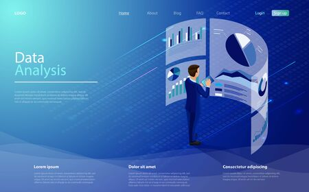 Data analysis concept. Character is standing in front of a big screen with graphs and charts. Financial management concept with businessman. Business analysis concept banner with character and charts