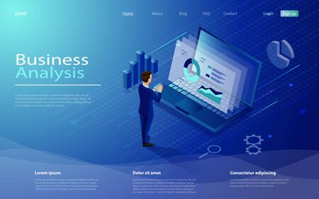 Digital marketing design concept with laptop, businessman and tablet. Business analysis concept with character. Isometric concept business analysis, content strategy, data analysis and management