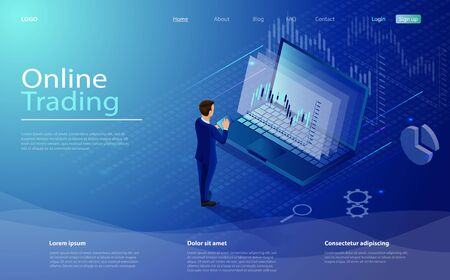 Online trading on stock exchange at home isometric composition with laptop, businessman, tablet, vector. Digital money market, investment, finance trading. Isometric concept stock exchang and trader Ilustrace