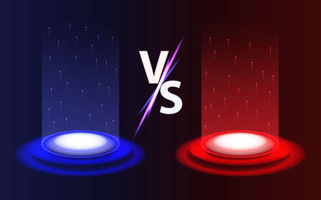 Versus vs background. Realistic radiant magic portals red vs blue with light effects on black background. Battle or competition concept template. Versus glowing pedestal with glowing flares Ilustrace