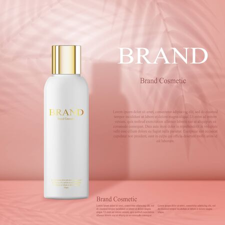 Moisturizing cosmetic products ad, light pink background with beautiful containers and palm leaves shadows. 3d realistic white bottle for skin care cream or body lotion. Cosmetic design template