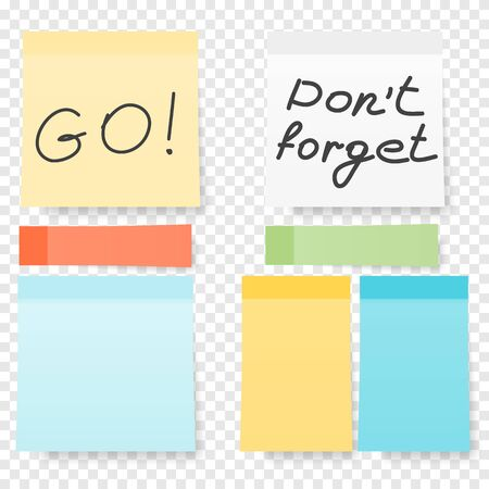 Colored note stickers set. Collection of different colored sheets of note papers ready for your message. Vector blank sticky notepaper posts of meeting reminder Çizim