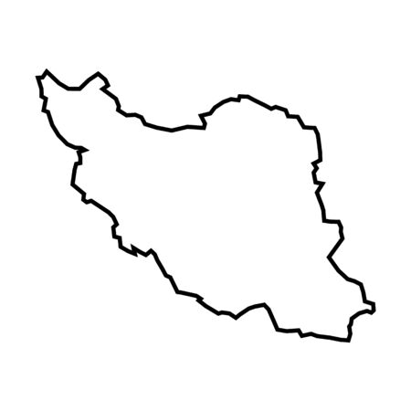 Iran - solid black outline border map of country area. Islamic Republic of Iran vector map. Iran outline map.