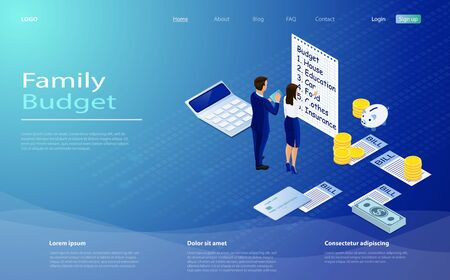Family budget income distribution planning isometric vector illustration. landing page family budget with couple calculating monthly income taxes savings expenses. Family budget concept