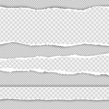 Horizontal torn paper edge. Realistic vector torn paper with ripped edges. Collection of white torn paper. Vector illustration.