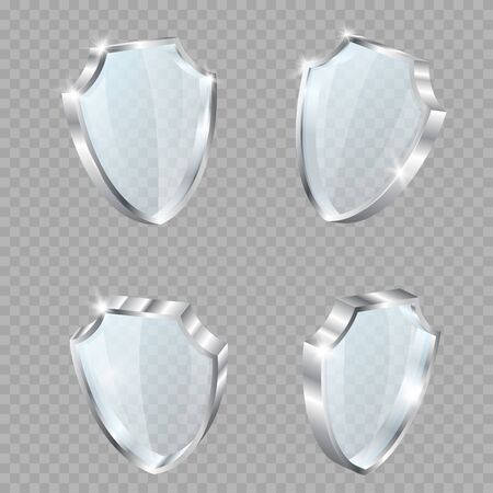 Glass shield realistic vector illustrations. Set of glass shields. Set of glass transparent shields under different perspectives.